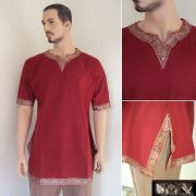 From The Movie Eagle. The Roman Shirt /Tunic With Trim - Red
